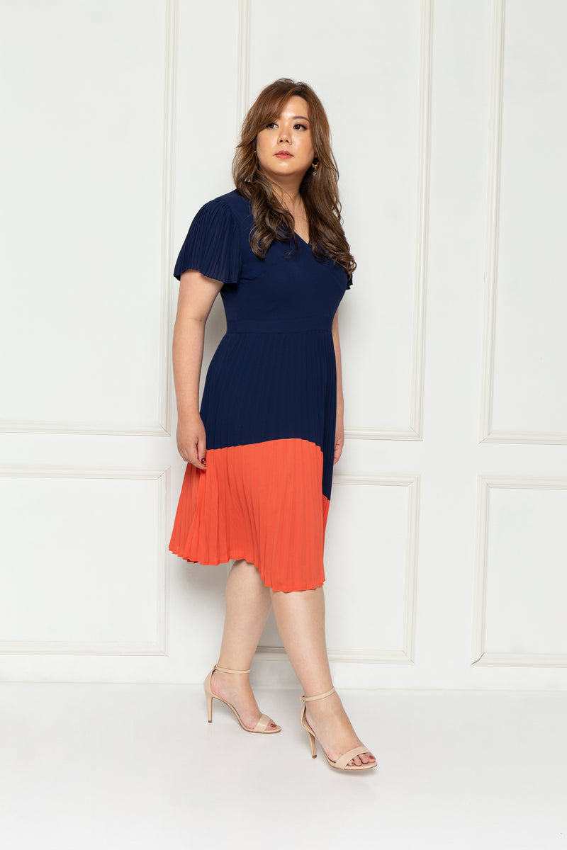 Pleated Colour Block Dress (Navy), Dress - 1214 Alley