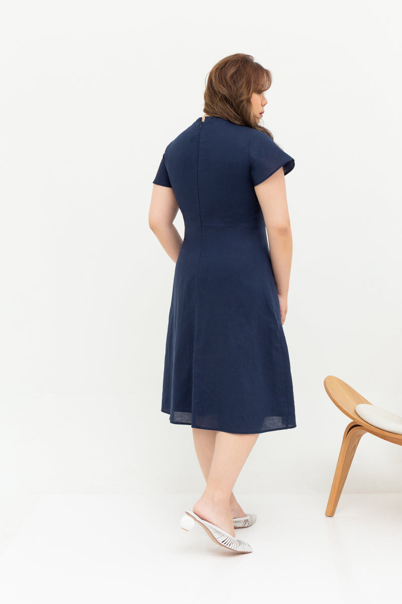 Buttons Linen Dress (Navy), Dress - 1214 Alley