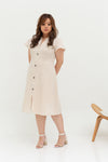 Buttons Linen Dress (Creme), Dress - 1214 Alley