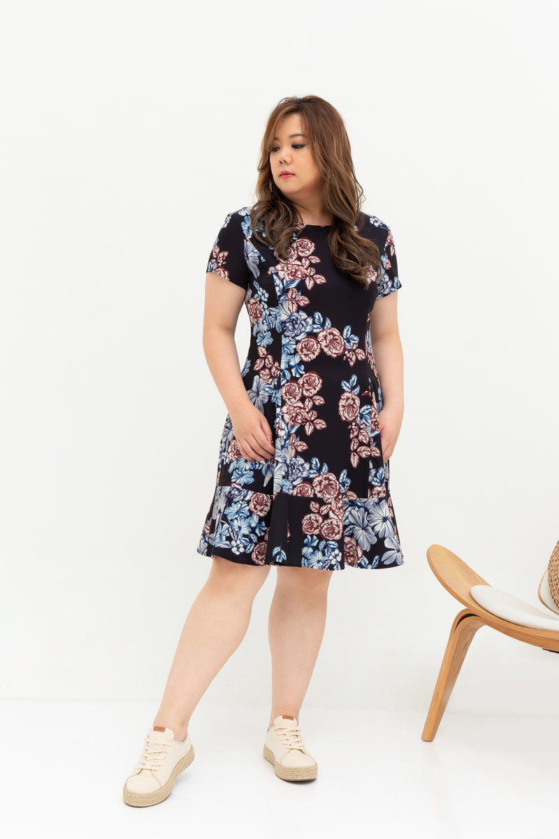 Fleur Peplum Dress (édition limitée print - Lunar Blooms), Dress - 1214 Alley