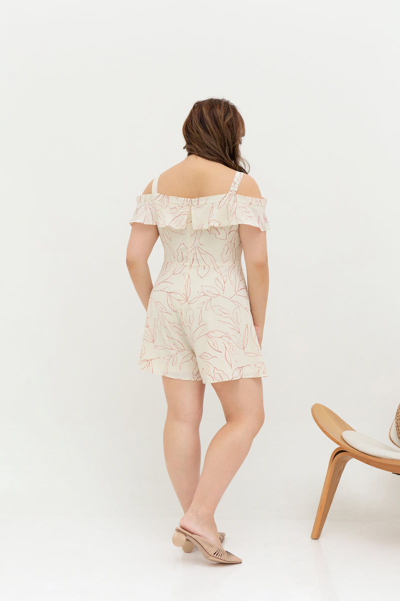 Sweetheart Neckline Romper (Creme), One-Piece - 1214 Alley
