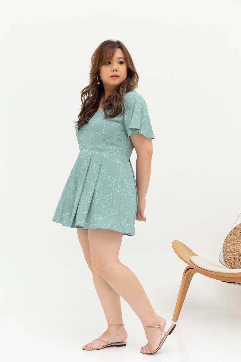 Saffron Romper (Mint), One-Piece - 1214 Alley