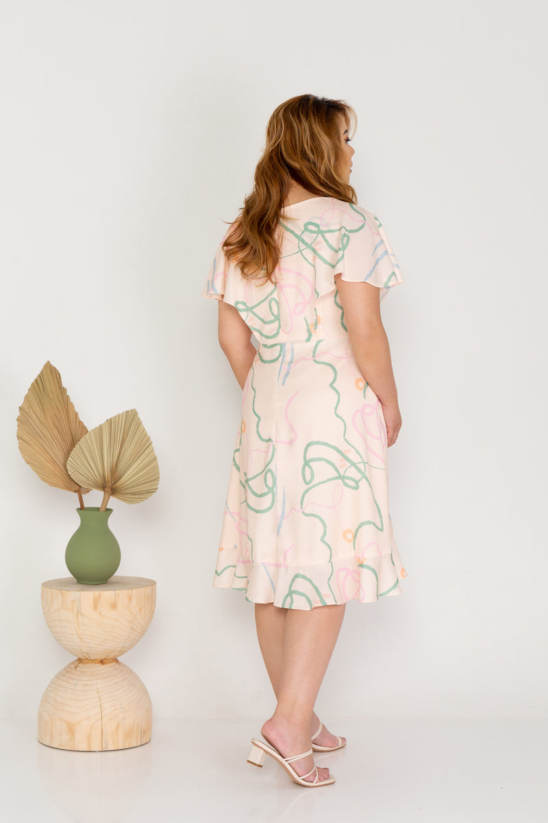 Flutter Sleeves Wrap Dress - (ELTWINE x AIRIN - Fields of the Valley)