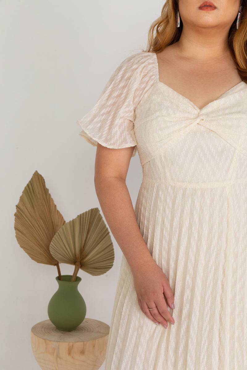 Pleated Textured Dress (Creme)