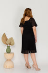 Pleated Textured Dress (Black)