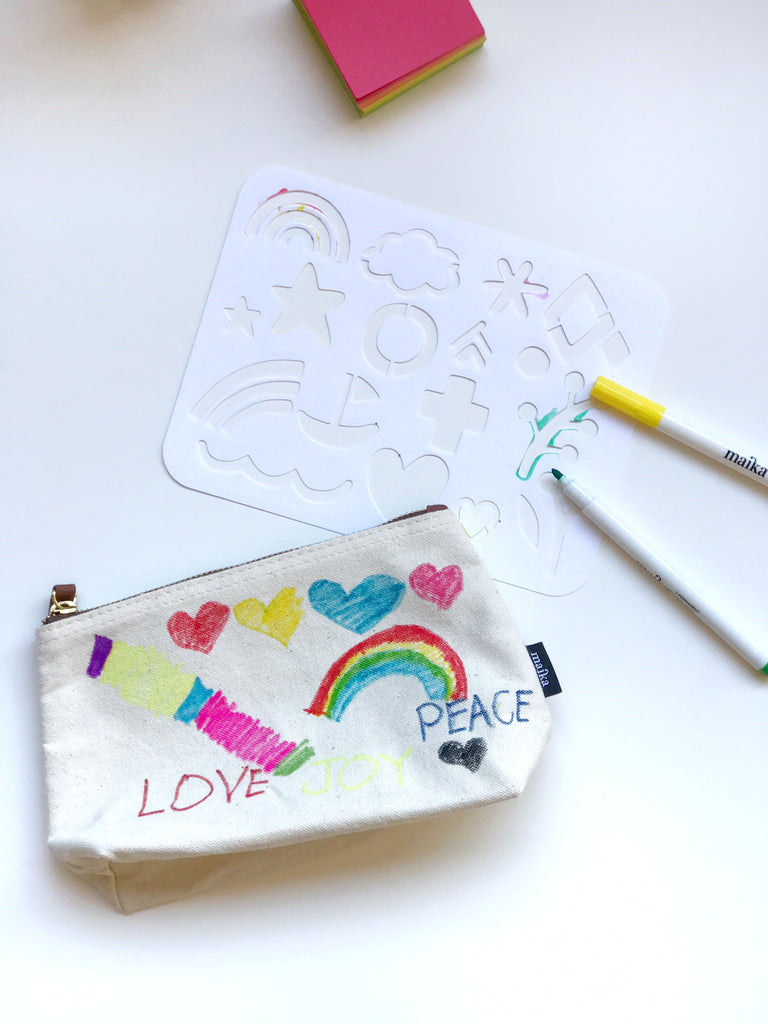 Stencil a pouch with MAIKA DIY kit