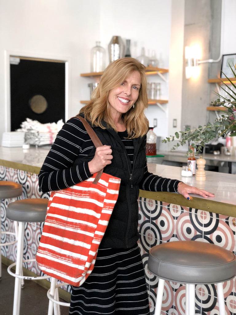 Sheryl Sharp with MAIKA Stripes Tangerine Market Tote at Cafe Reveille