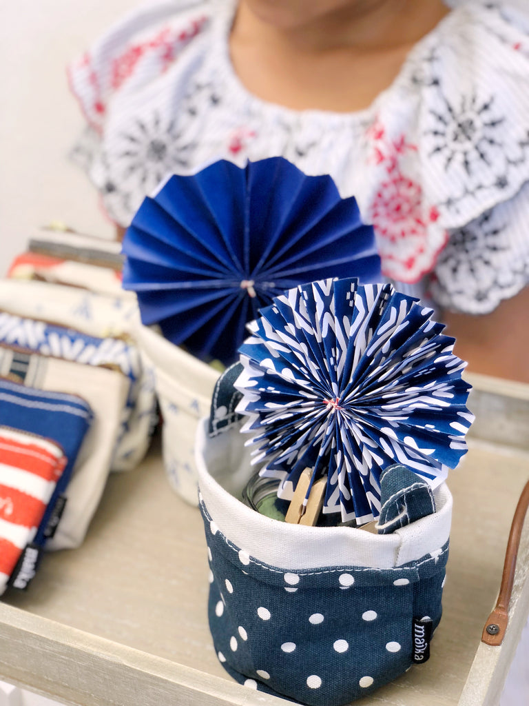Making DIY 4th July Pinwheels