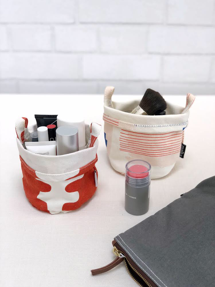 cosmetics in MAIKA canvas buckets