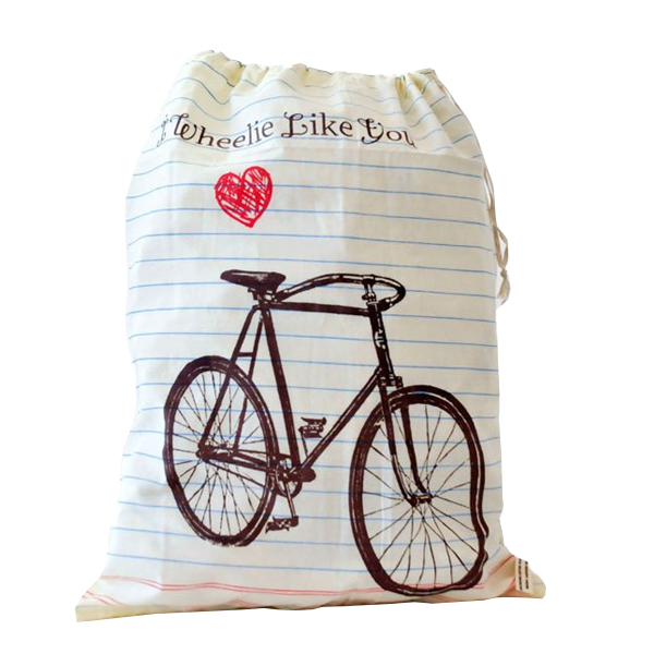 I Wheelie Like You Upcycled Drawstring Bag