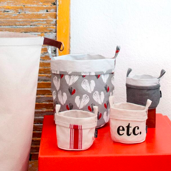 Stripe Red Recycled Canvas Bucket