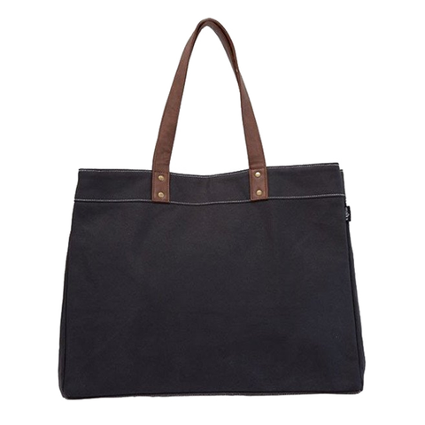 Waxed Black Carryall Tote