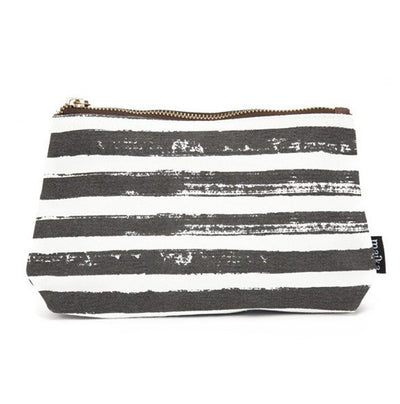 Travel Pouch - Charcoal Stripes