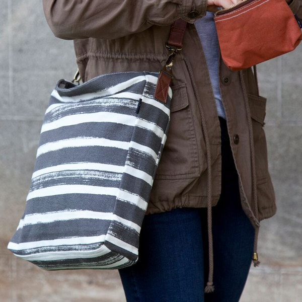 Stripes Charcoal Sling Crossbody