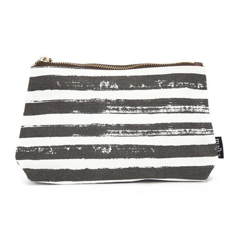 Stripes Charcoal Canvas Pouch