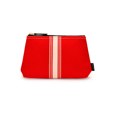 NEW! Travel Pouch - Mod Stripe Cream/ Red