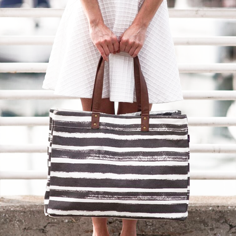 Stripes Charcoal Carryall Tote