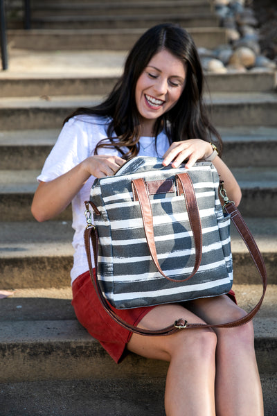 Commuter Tote - Stripes Charcoal