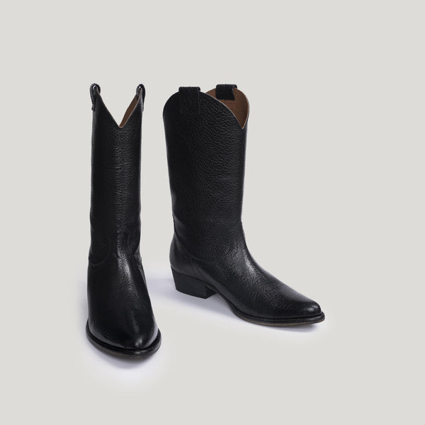 Black vintage leather cowboy boots - JANDRA