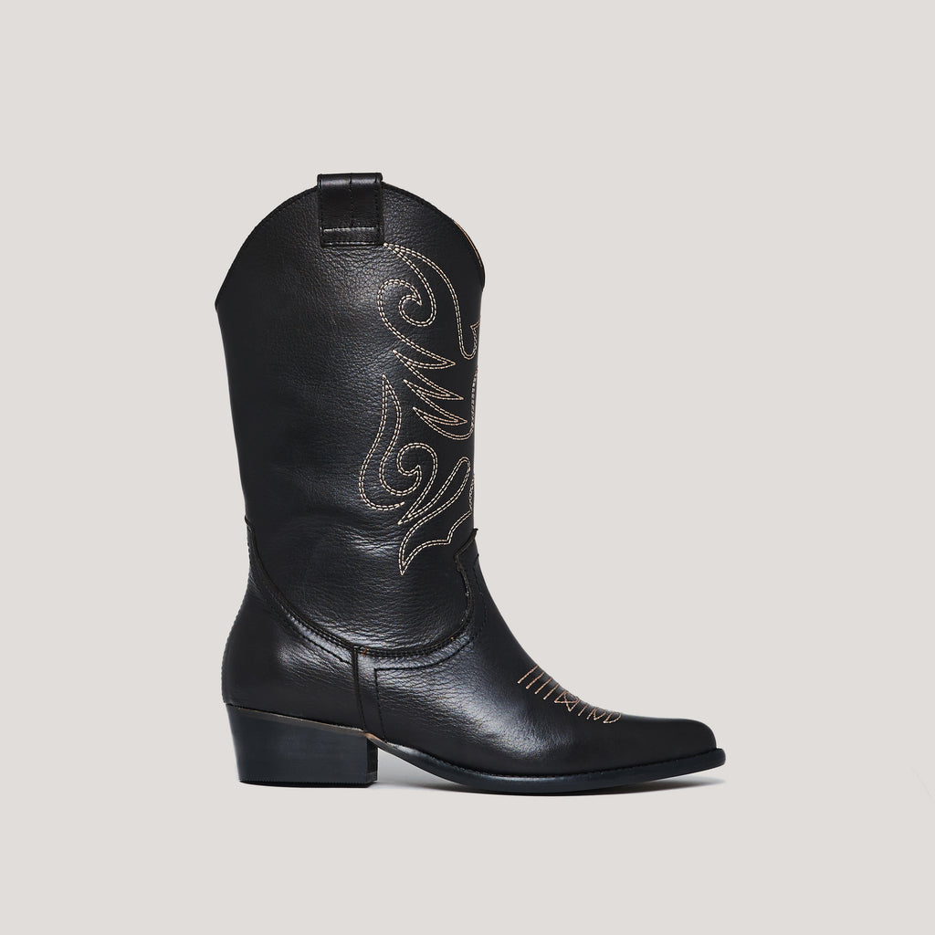 Black leather cowboy boot JANDRA