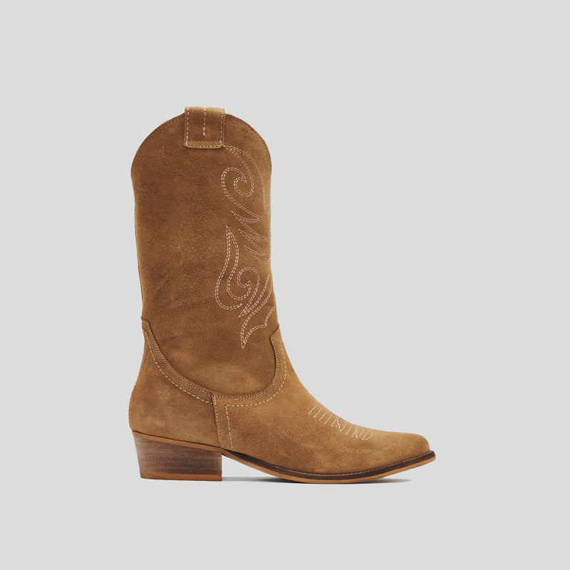 Soft brown leather cowboy boot - JANDRA