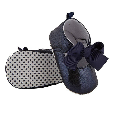 Navy Metallic Baby Shoe