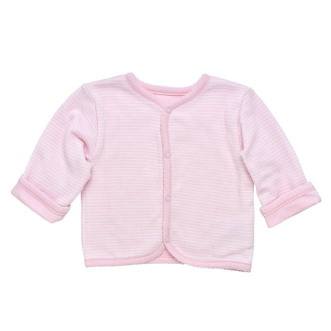 Pale Pink Baby Reversible Stripe Cardigan