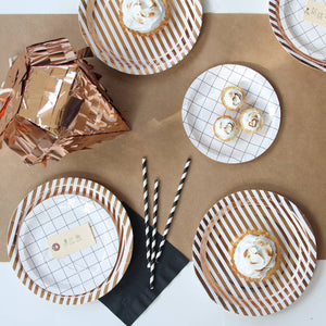 Copper Stripe Paper Plates (large)