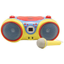 HamiltonBuhl Kids Audio CD Player Karaoke Machine with Microphone