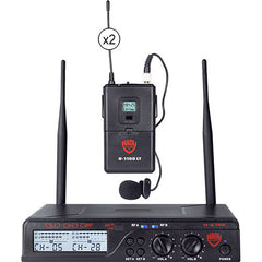 Nady U-2100 Dual LT 200-Channel UHF Wireless Lavalier Microphone System