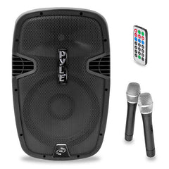 "Pyle Pro PPHP159WMU 1,600W 15"" Active 2-Way PA Speaker with Bluetooth & 2 Wireless Microphones"