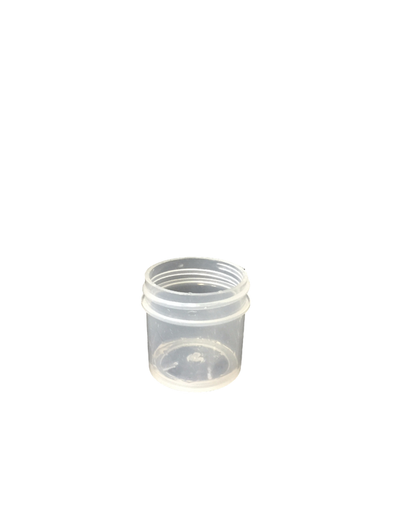 1.5 oz jar in clarified polypropylene with a 38/400 neck in natural