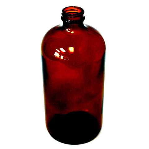 16 oz Boston Round bottle Amber glass with 28/400 neck