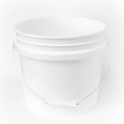 Two  gallon HDPE plastic pail white