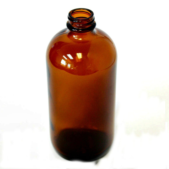 32 oz Boston Round bottle Amber glass with 33/400 neck