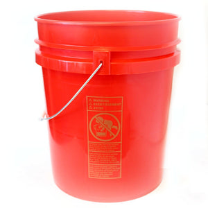 Five gallon HDPE plastic pail red