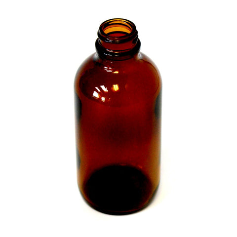 8 oz Boston Round bottle Amber glass with 28/400 neck