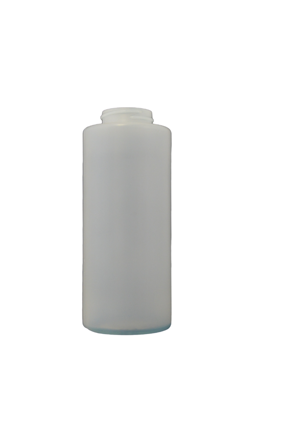 Bottle 12 oz cylinder round HDPE 38/400 short natural