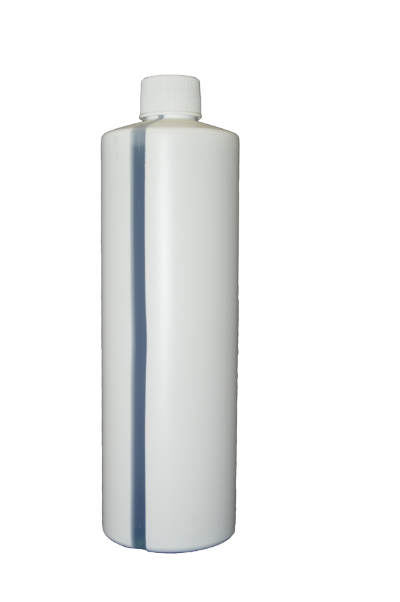 Bottle 16 oz cylinder round 24/410 white with view stripe