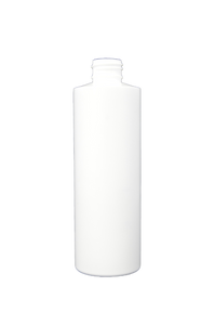 Bottle 8 oz cylinder round HDPE 24/410 white