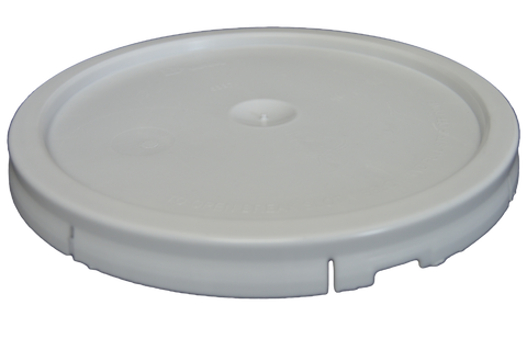 Five gallon HDPE plastic pail cover tear tab white with reike spout