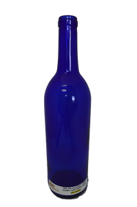 Claret Flat Bottom Cork Finish Cobalt Blue 750 ML  W5  (Case of 12)