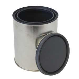 Quart tin paint can lined with plug
