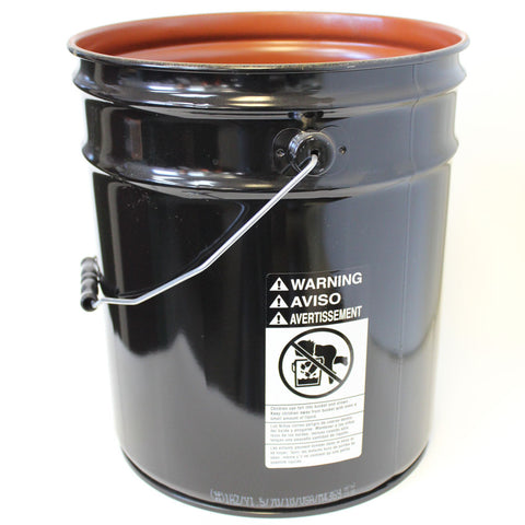 5 gallon steel pail red phenolic lined black 26 gauge