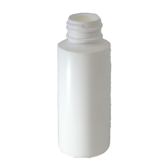 2 oz cylinder round bottle with a 24/410 neck HDPE in white