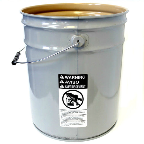 5 gallon steel pail buff lined grey 26 guage