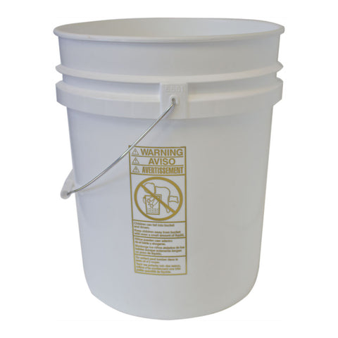 Five  gallon HDPE plastic pail white