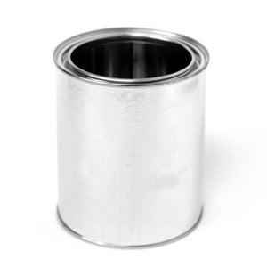 Quart tin paint can unlined with plug