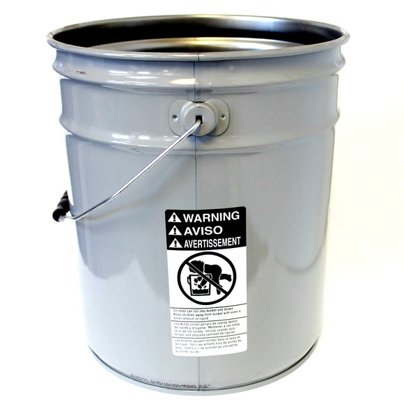 5 gallon steel pail unlined grey 26 guage