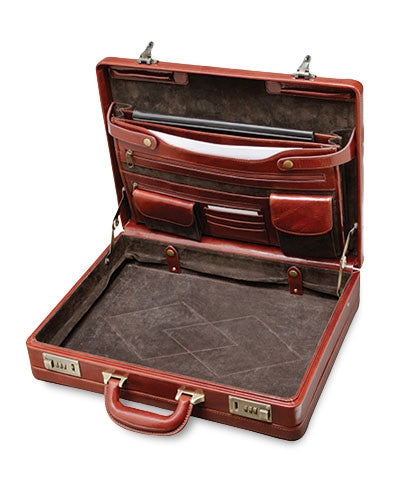 Italian Leather Expandable Attaché Case